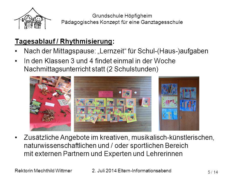 Grundschule Höpfigheim Pädagogisches Konzept für eine Ganztagesschule