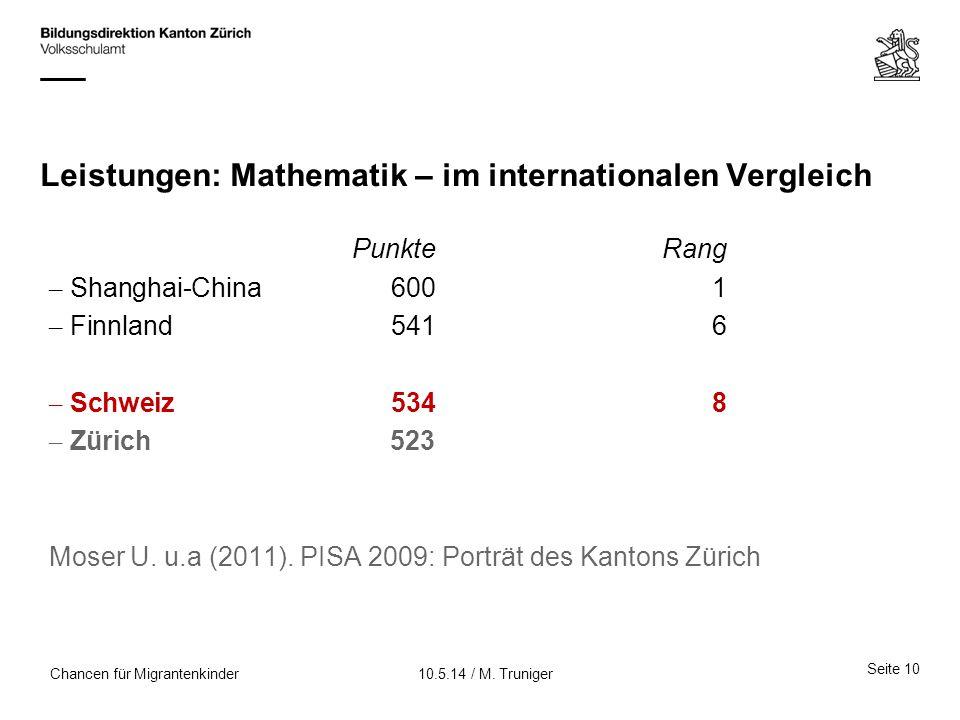 Leistungen: Mathematik – im internationalen Vergleich