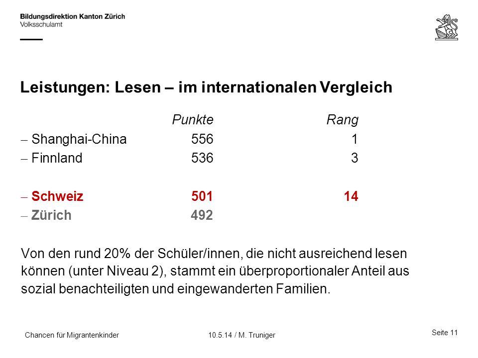 Leistungen: Lesen – im internationalen Vergleich