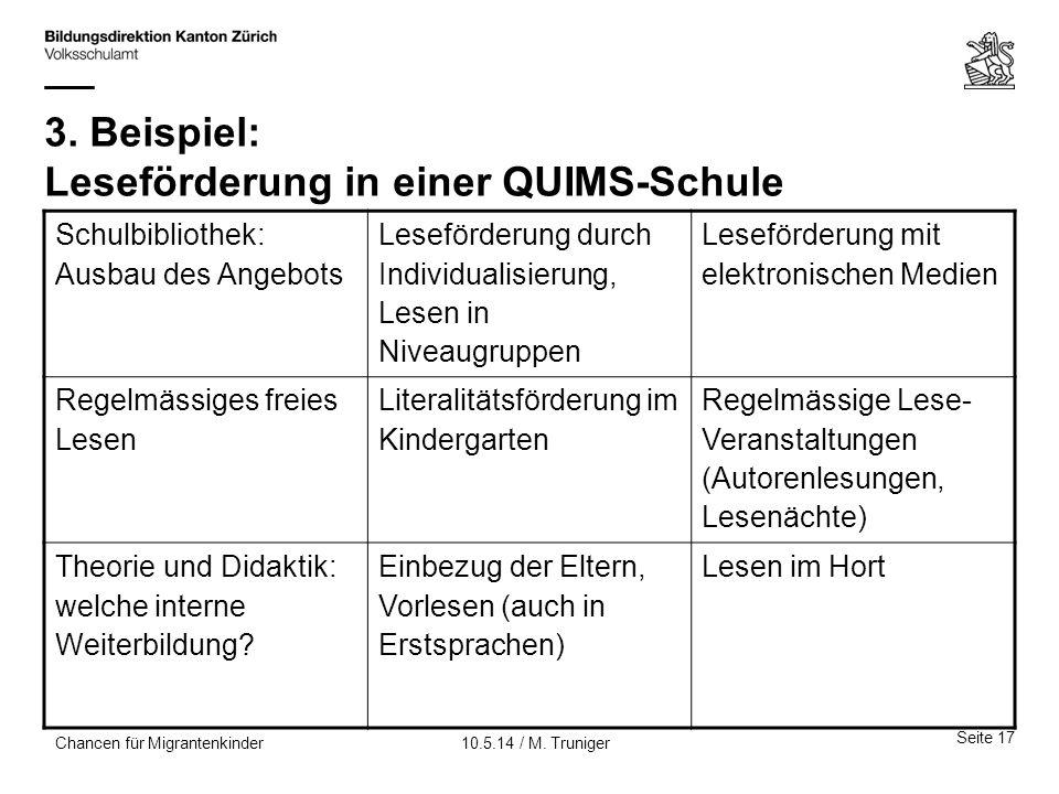3. Beispiel: Leseförderung in einer QUIMS-Schule