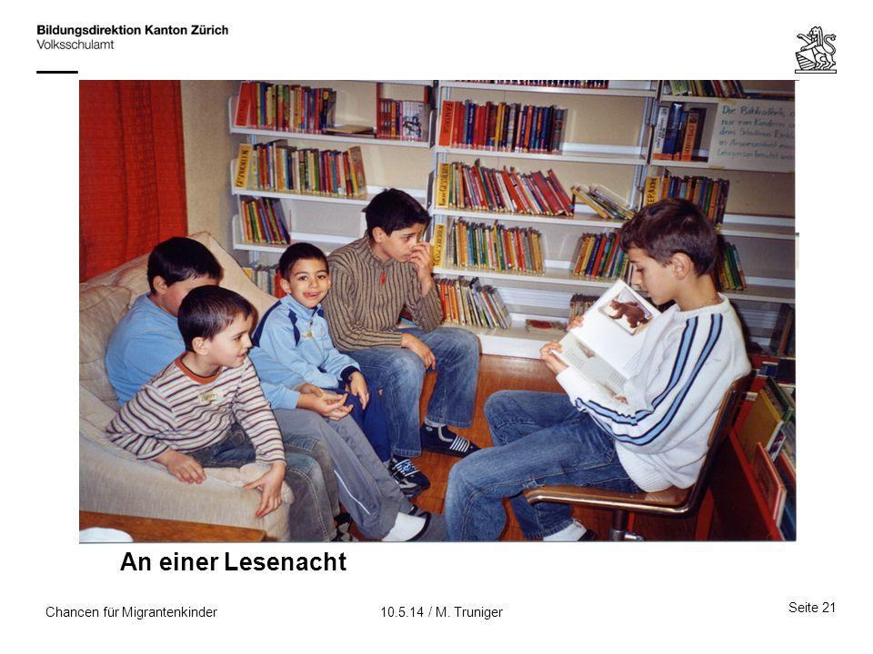 An einer Lesenacht Chancen für Migrantenkinder 10.5.14 / M. Truniger