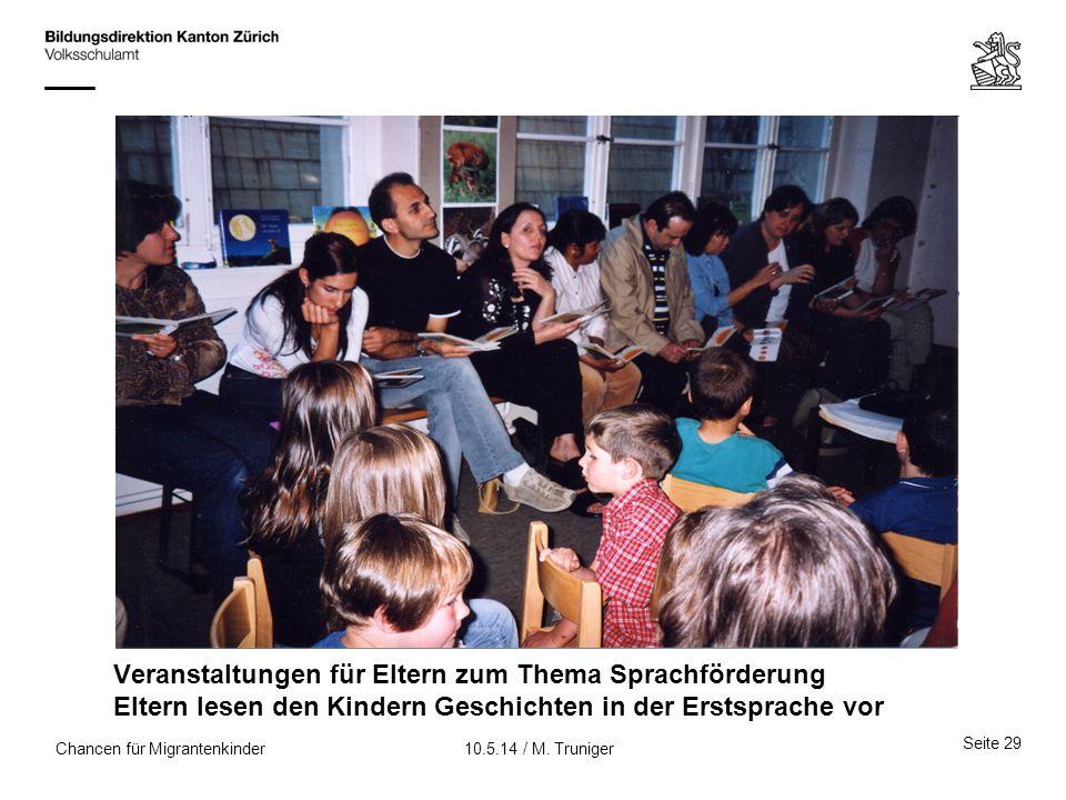 Veranstaltungen für Eltern zum Thema Sprachförderung Eltern lesen den Kindern Geschichten in der Erstsprache vor