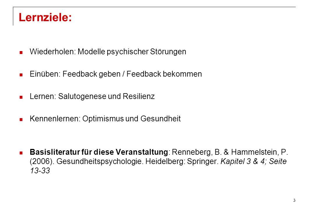 Lernziele: Wiederholen: Modelle psychischer Störungen