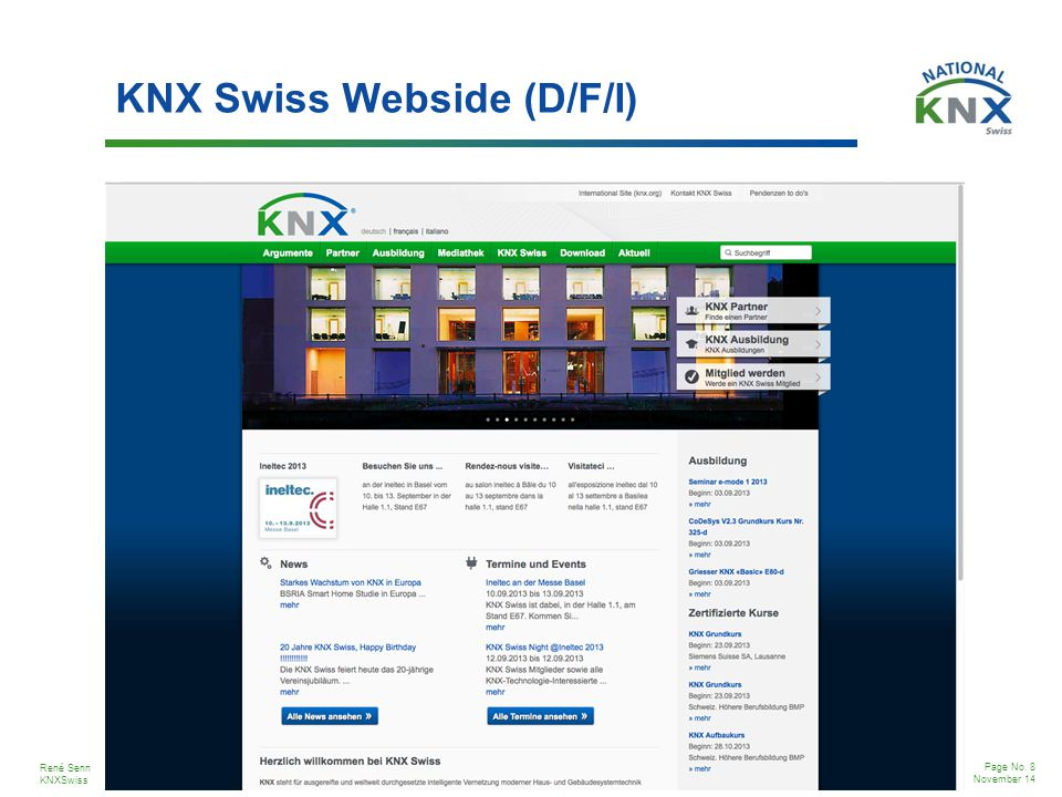 KNX Swiss Webside (D/F/I)