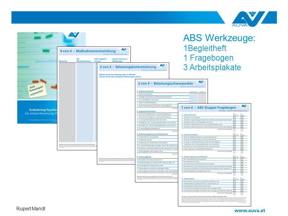 ABS Werkzeuge: 1Begleitheft 1 Fragebogen 3 Arbeitsplakate