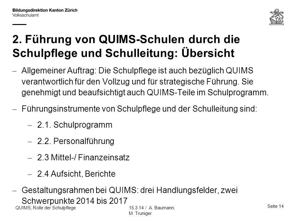 2. Führung von QUIMS-Schulen durch die Schulpflege und Schulleitung: Übersicht
