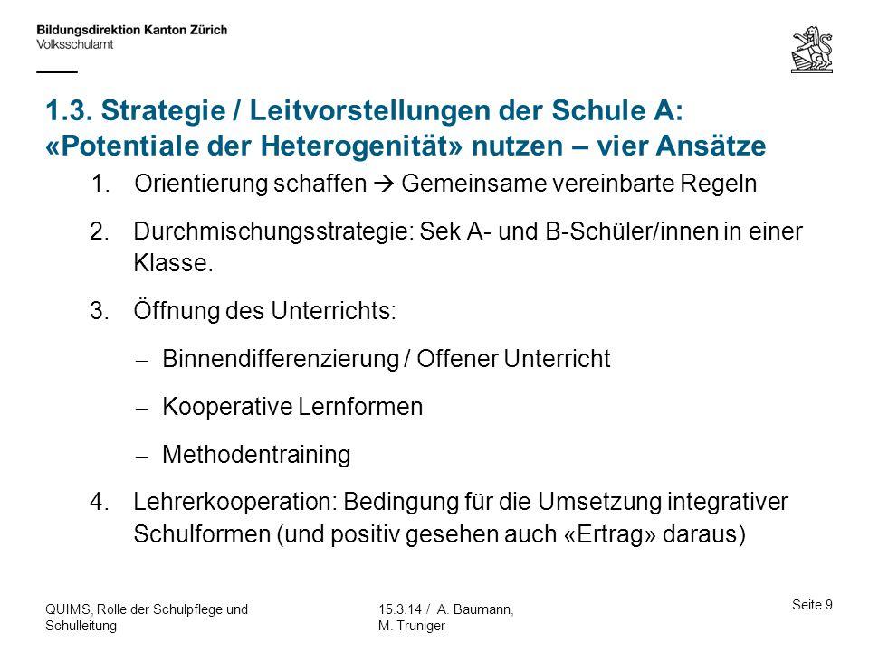 1.3. Strategie / Leitvorstellungen der Schule A: «Potentiale der Heterogenität» nutzen – vier Ansätze