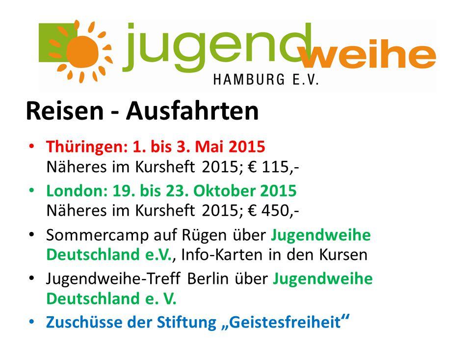 Reisen - Ausfahrten Thüringen: 1. bis 3. Mai 2015 Näheres im Kursheft 2015; € 115,-
