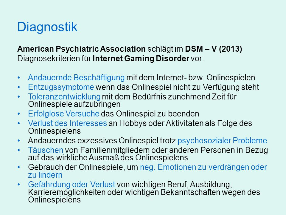 Diagnostik American Psychiatric Association schlägt im DSM – V (2013)