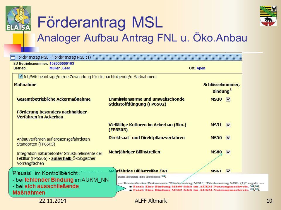 Förderantrag MSL Analoger Aufbau Antrag FNL u. Öko.Anbau