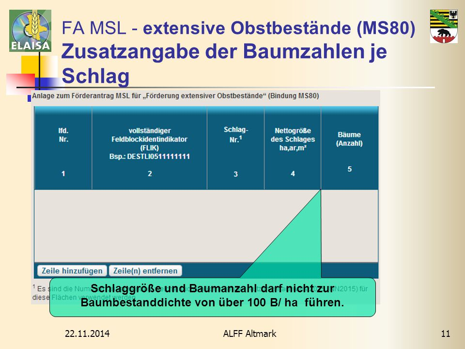 FA MSL - extensive Obstbestände (MS80) Zusatzangabe der Baumzahlen je Schlag