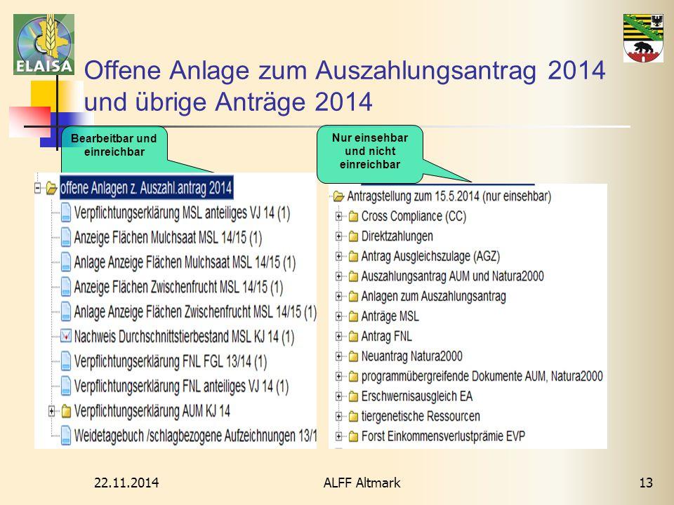 Offene Anlage zum Auszahlungsantrag 2014 und übrige Anträge 2014