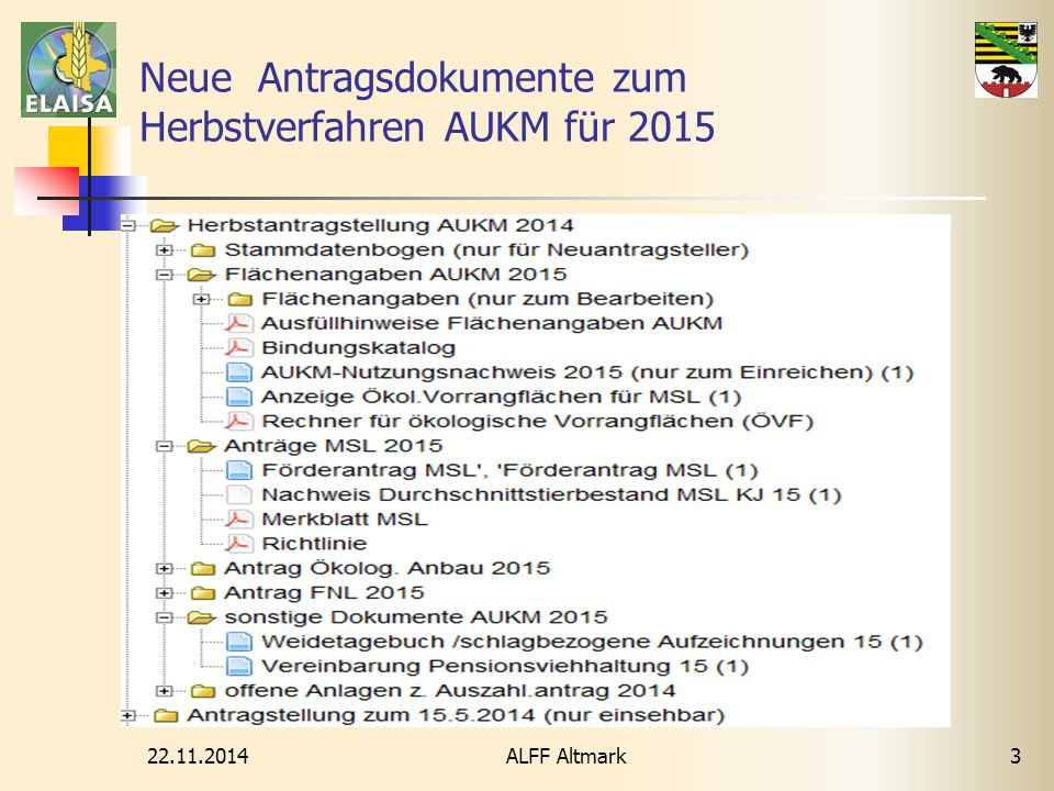 Neue Antragsdokumente zum Herbstverfahren AUKM für 2015