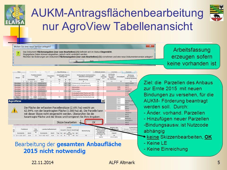 AUKM-Antragsflächenbearbeitung nur AgroView Tabellenansicht