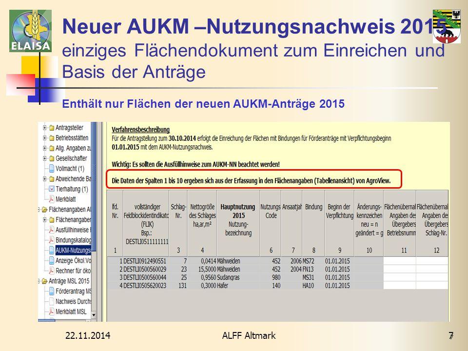Neuer AUKM –Nutzungsnachweis 2015 einziges Flächendokument zum Einreichen und Basis der Anträge
