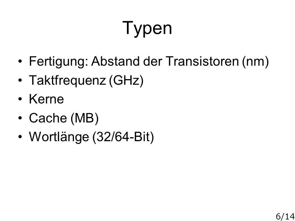 Typen Fertigung: Abstand der Transistoren (nm) Taktfrequenz (GHz)