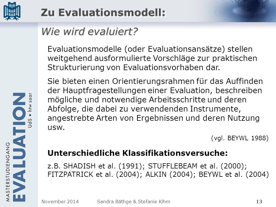 Zu Evaluationsmodell: Wie wird evaluiert