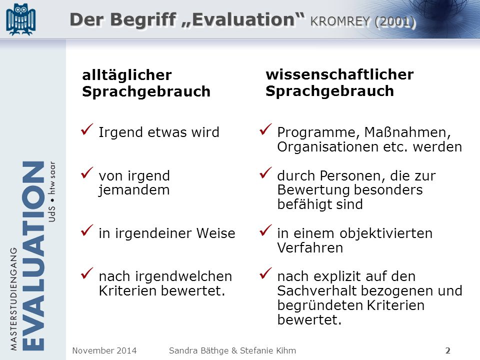 "Der Begriff ""Evaluation KROMREY (2001)"