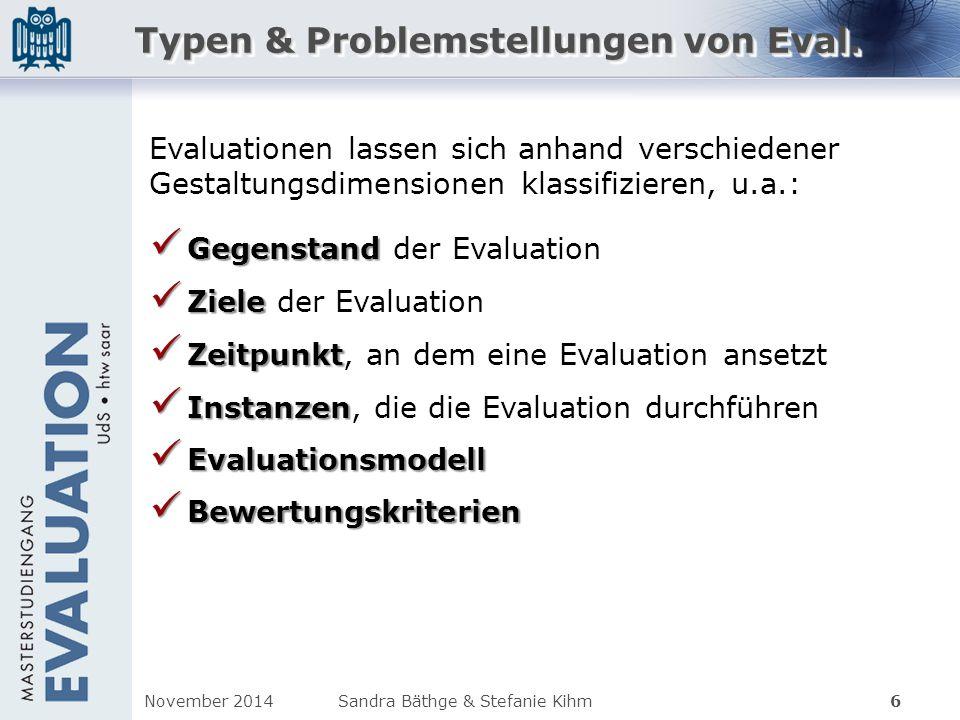 Typen & Problemstellungen von Eval.
