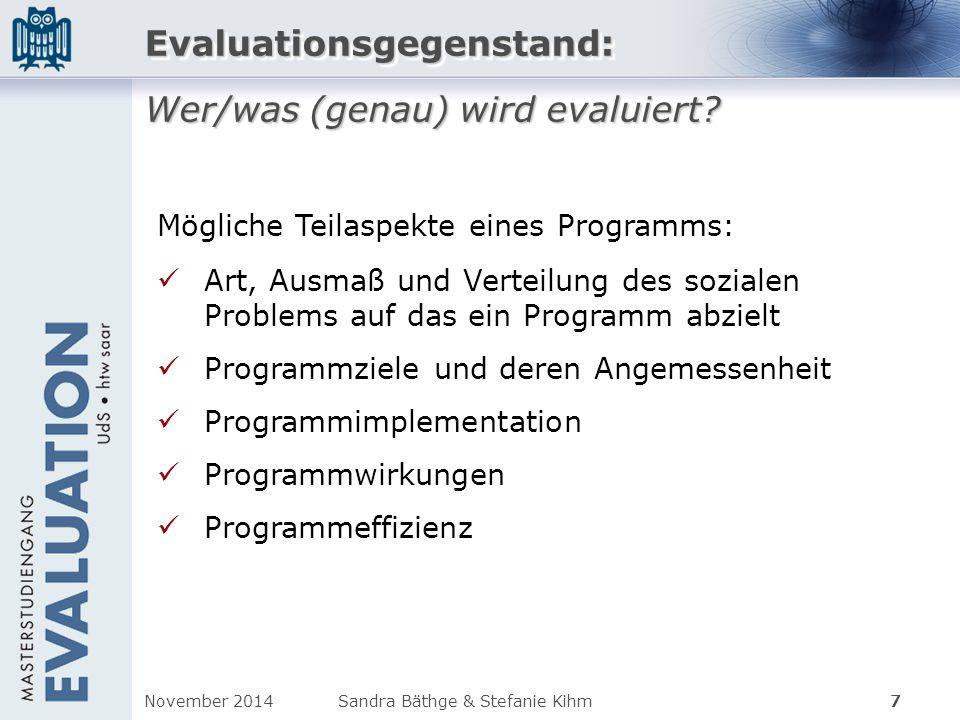 Evaluationsgegenstand: Wer/was (genau) wird evaluiert