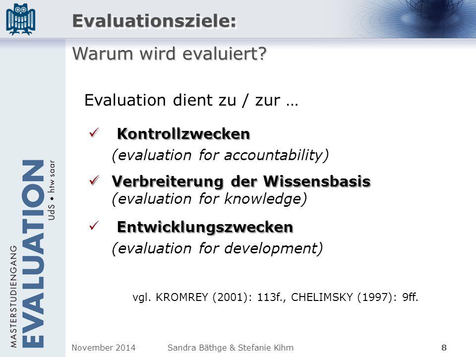 Evaluationsziele: Warum wird evaluiert Evaluation dient zu / zur …
