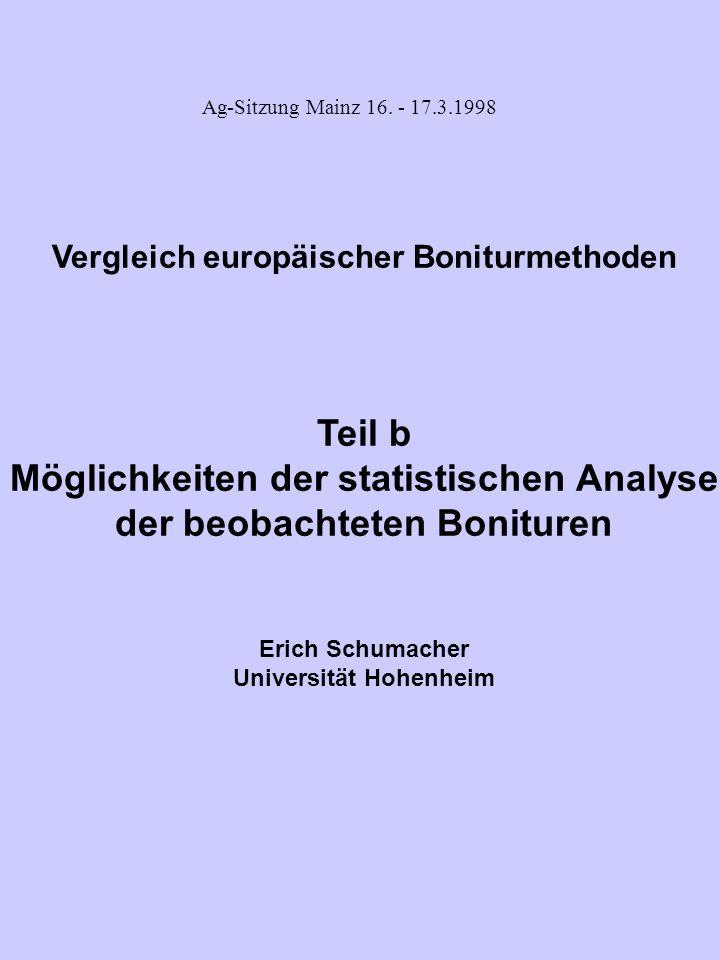 Möglichkeiten der statistischen Analyse der beobachteten Bonituren