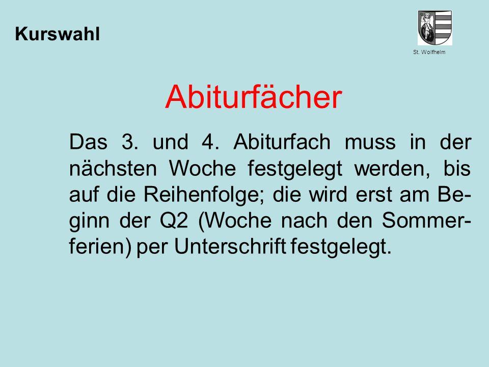 Kurswahl Abiturfächer.