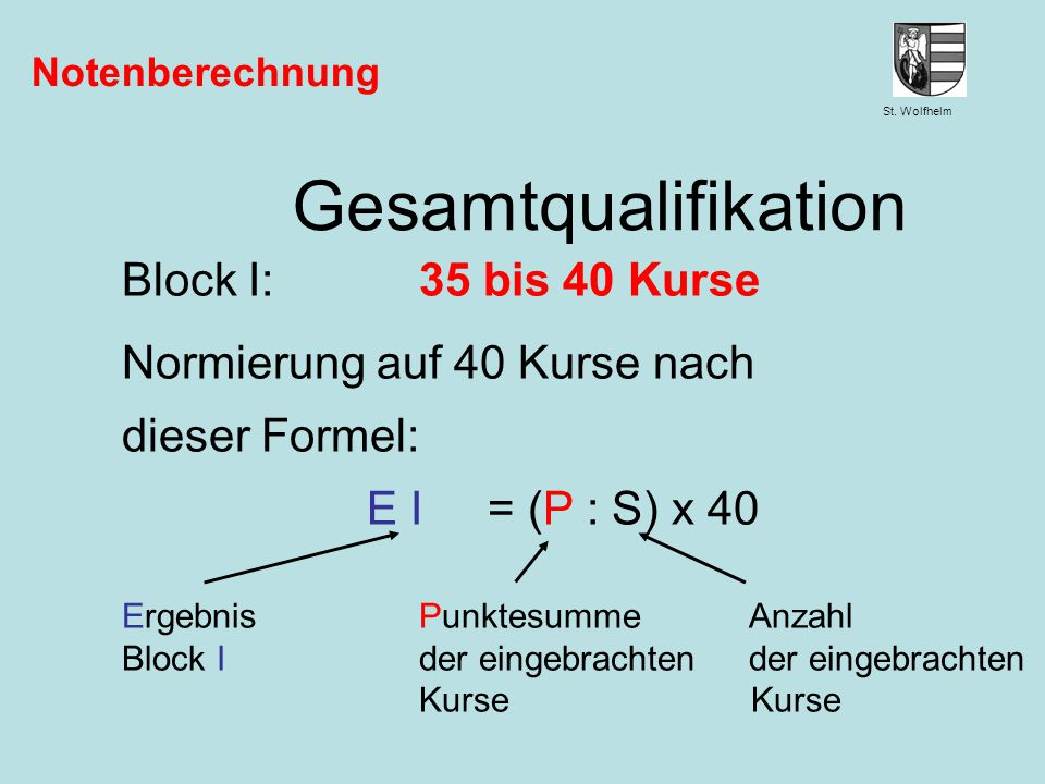 Gesamtqualifikation Block I: 35 bis 40 Kurse