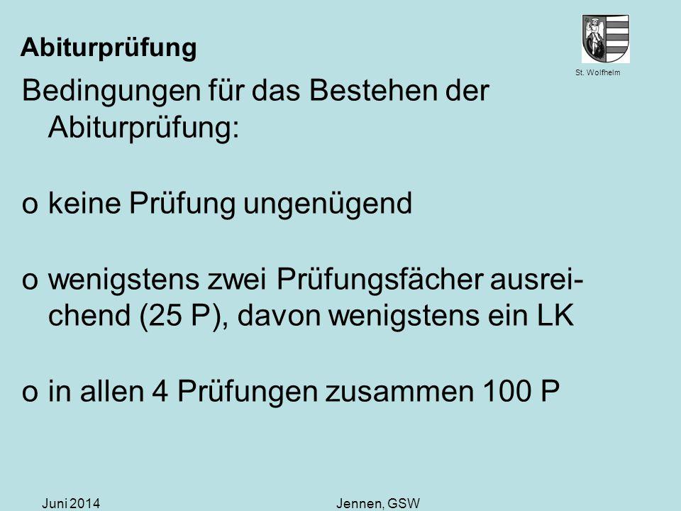 Bedingungen für das Bestehen der Abiturprüfung:
