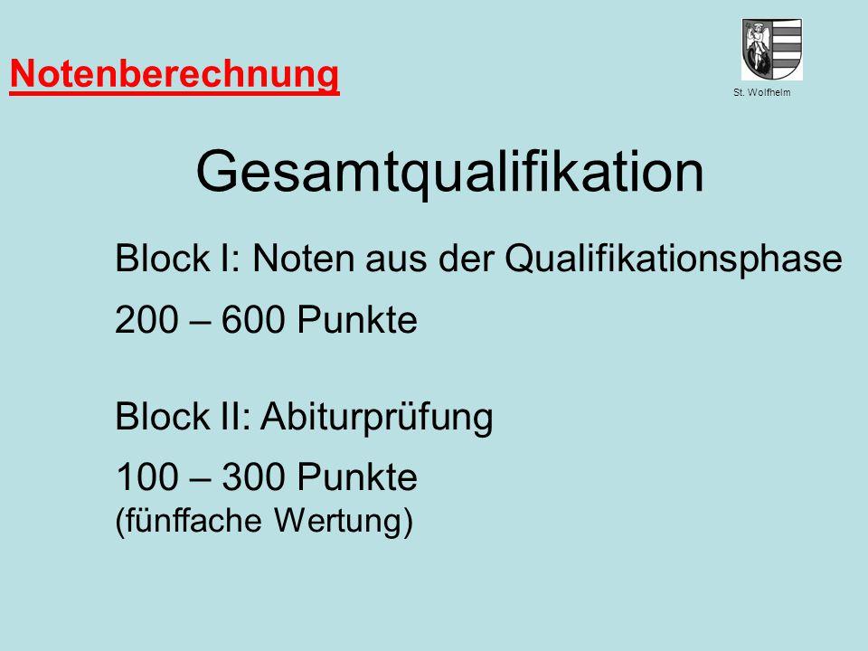 Gesamtqualifikation Notenberechnung