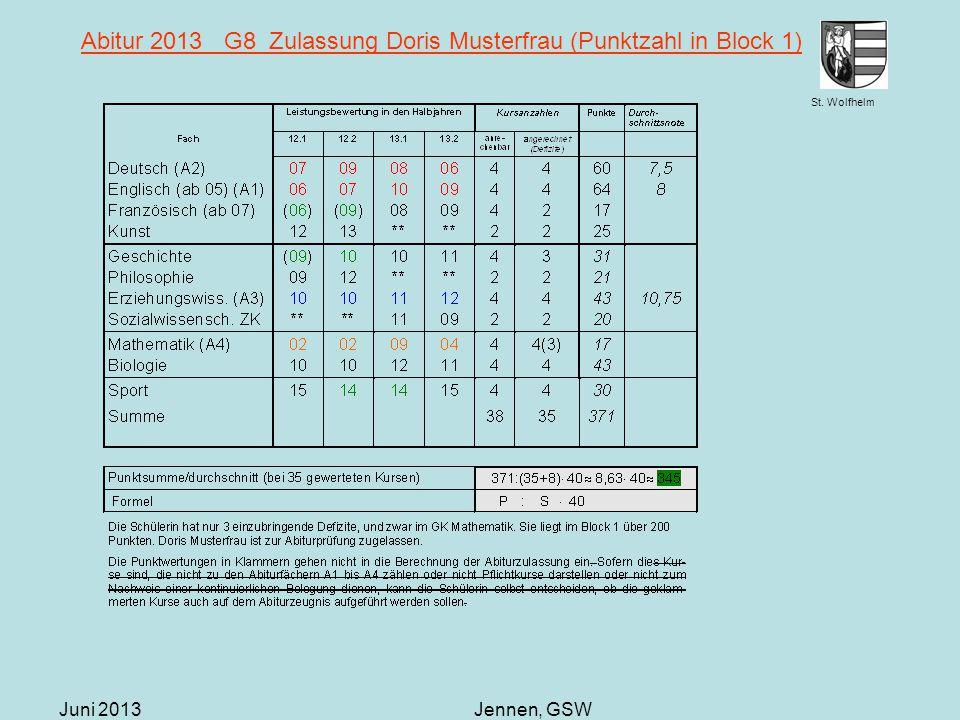 Abitur 2013 G8 Zulassung Doris Musterfrau (Punktzahl in Block 1)