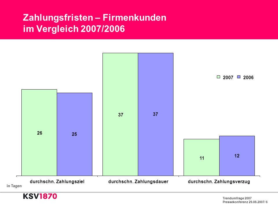 Zahlungsfristen – Firmenkunden im Vergleich 2007/2006