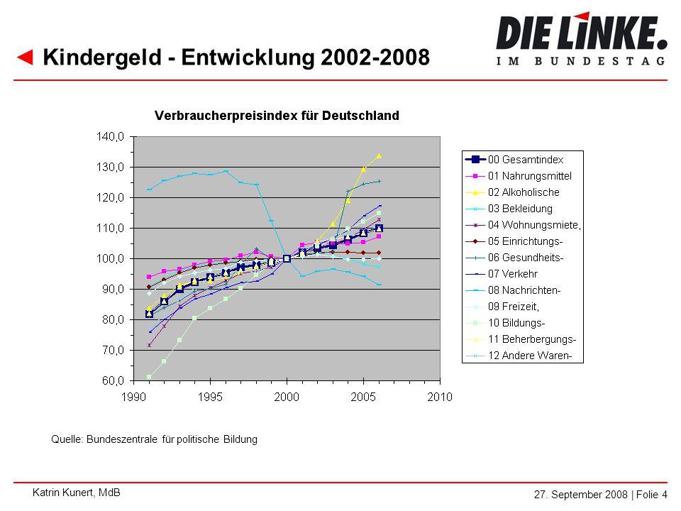 Kindergeld - Entwicklung 2002-2008
