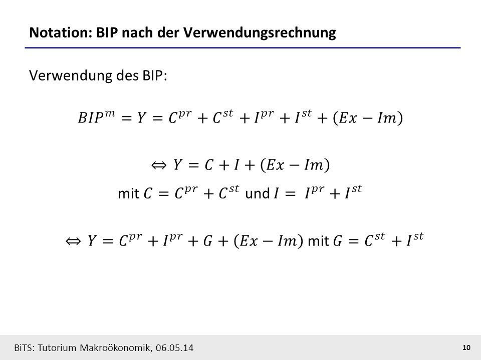 Notation: BIP nach der Verwendungsrechnung