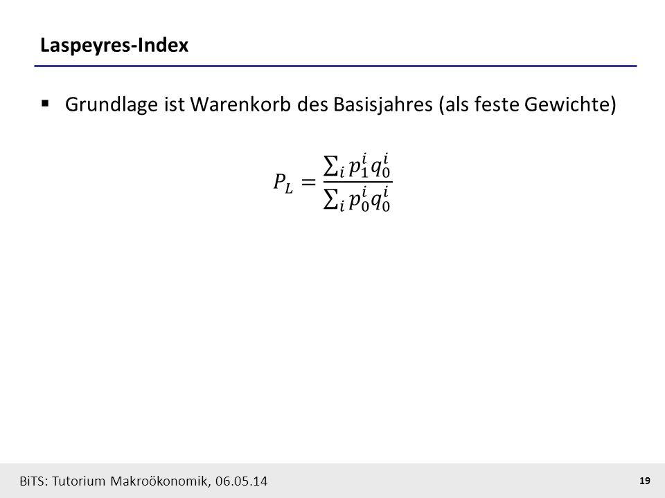 Laspeyres-Index Grundlage ist Warenkorb des Basisjahres (als feste Gewichte) 𝑃 𝐿 = 𝑖 𝑝 1 𝑖 𝑞 0 𝑖 𝑖 𝑝 0 𝑖 𝑞 0 𝑖.