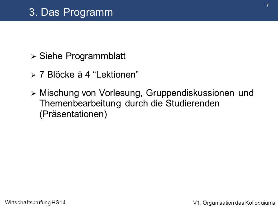 3. Das Programm Siehe Programmblatt 7 Blöcke à 4 Lektionen