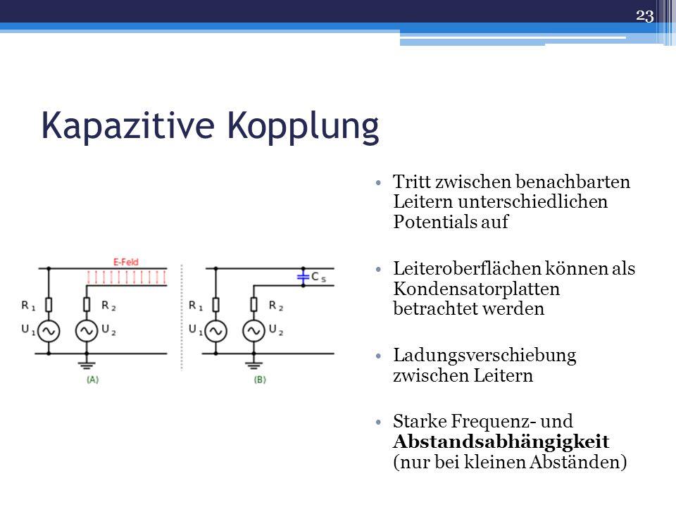 Kapazitive Kopplung Tritt zwischen benachbarten Leitern unterschiedlichen Potentials auf.