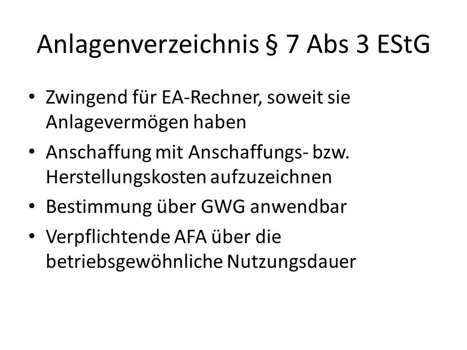 Anlagenverzeichnis § 7 Abs 3 EStG