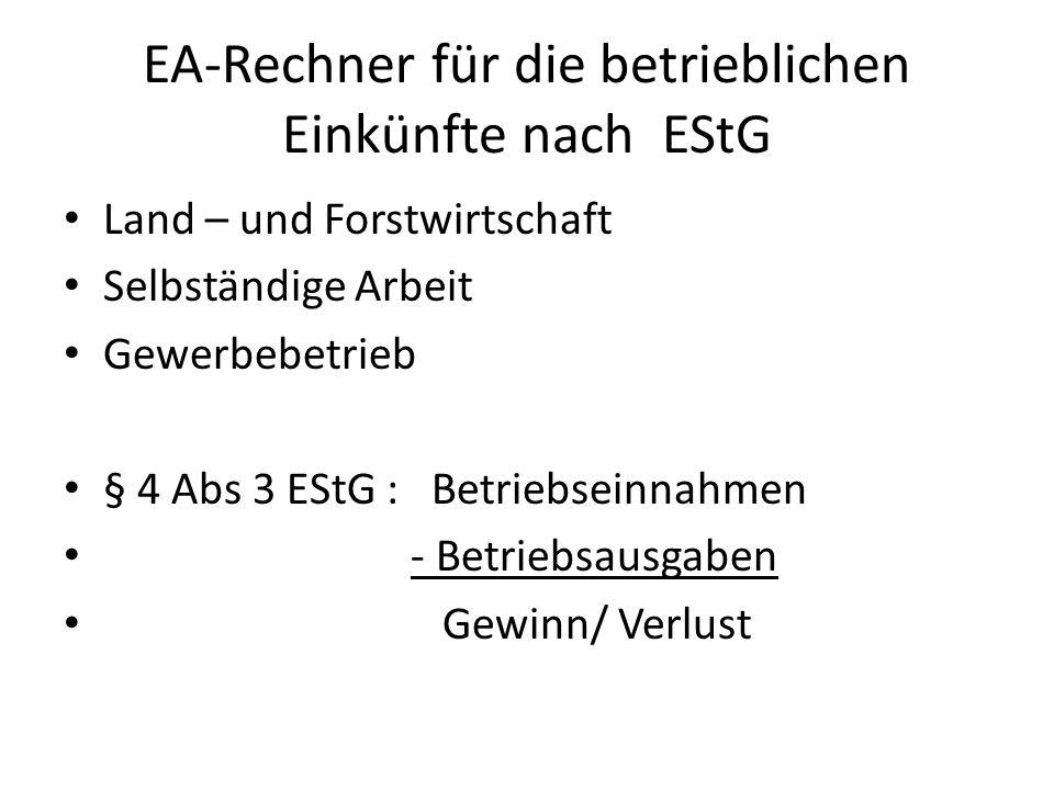 EA-Rechner für die betrieblichen Einkünfte nach EStG