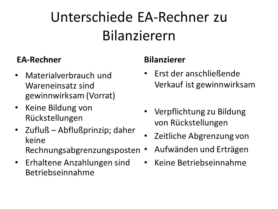 Unterschiede EA-Rechner zu Bilanzierern