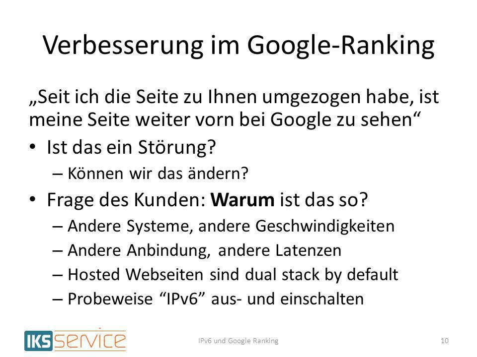 Verbesserung im Google-Ranking