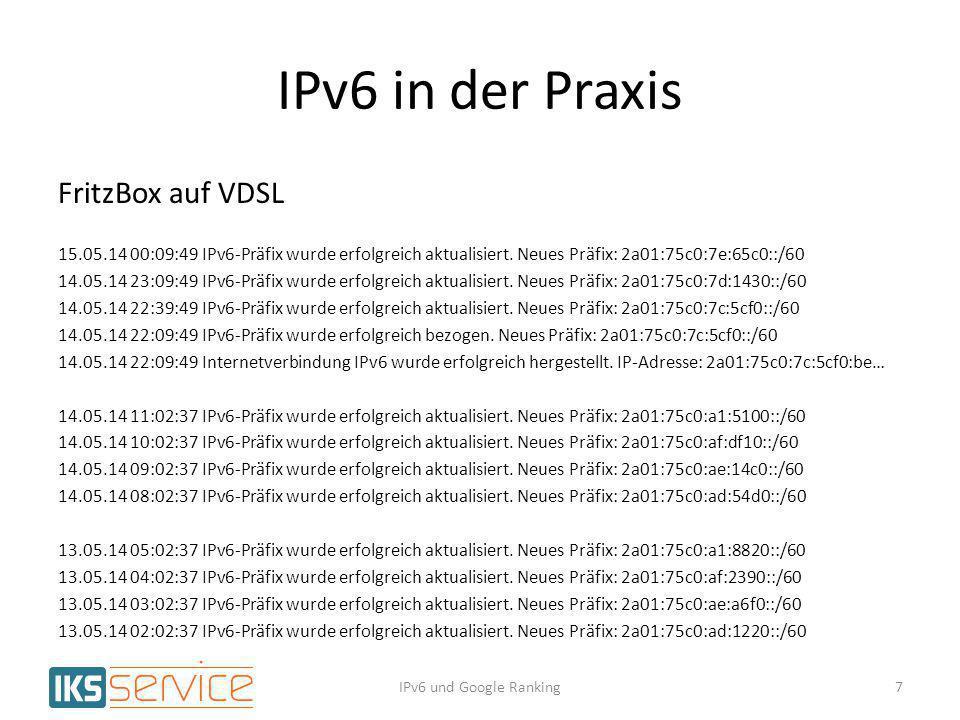 IPv6 in der Praxis FritzBox auf VDSL