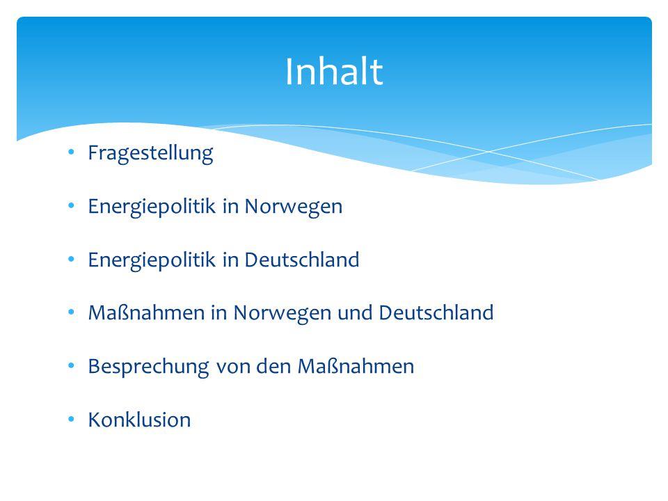 Inhalt Fragestellung Energiepolitik in Norwegen