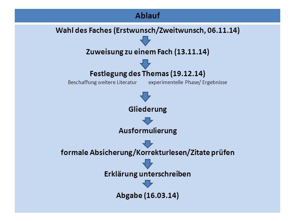 Ablauf Wahl des Faches (Erstwunsch/Zweitwunsch, 06.11.14)