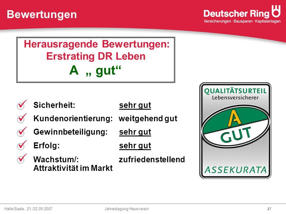 """Herausragende Bewertungen: Erstrating DR Leben A """" gut"""