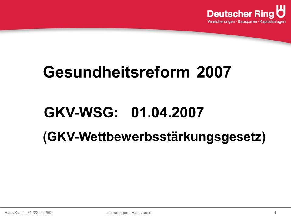 Gesundheitsreform 2007 GKV-WSG: 01.04.2007