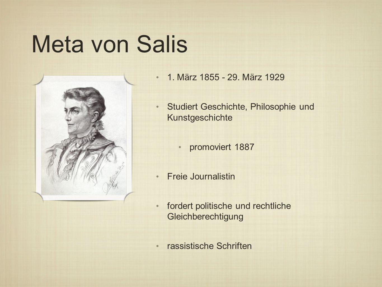 Meta von Salis 1. März 1855 - 29. März 1929