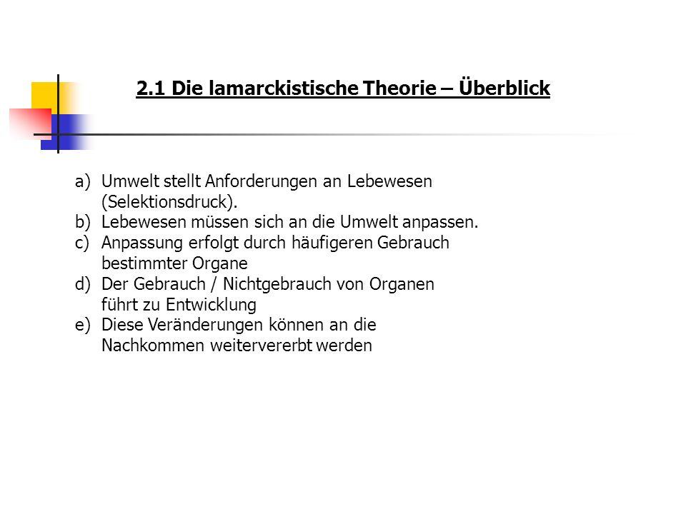 2.1 Die lamarckistische Theorie – Überblick