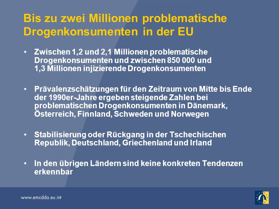 Bis zu zwei Millionen problematische Drogenkonsumenten in der EU