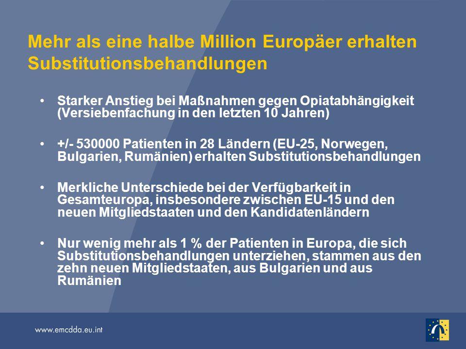 Mehr als eine halbe Million Europäer erhalten Substitutionsbehandlungen